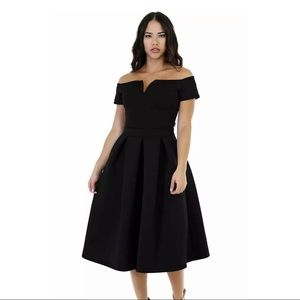 NWT Lalagen Black Fit and Flare Scuba Dress XL